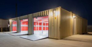 3-bay-container-garage-night-angle