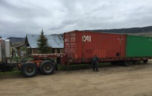 Container being delivered