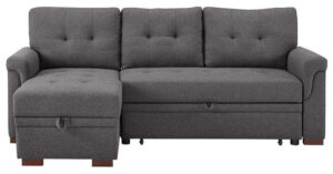 LILOLA Lucca Gray Linen Reversible Sleeper Sofa Storage Chaise