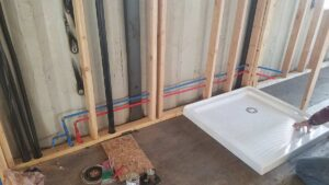 bathroom plumbing and structural support